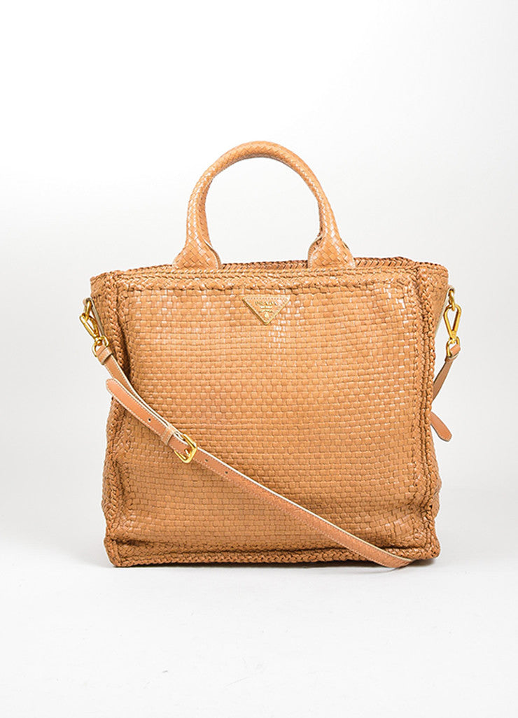 "Tan Prada Leather Woven Top Handle ""Madras"" Crossbody Tote Bag Frontview"