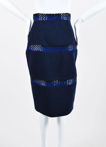 Blue and Black Roksanda Wool, Cotton, and Plastic Woven Pencil Skirt Frotview