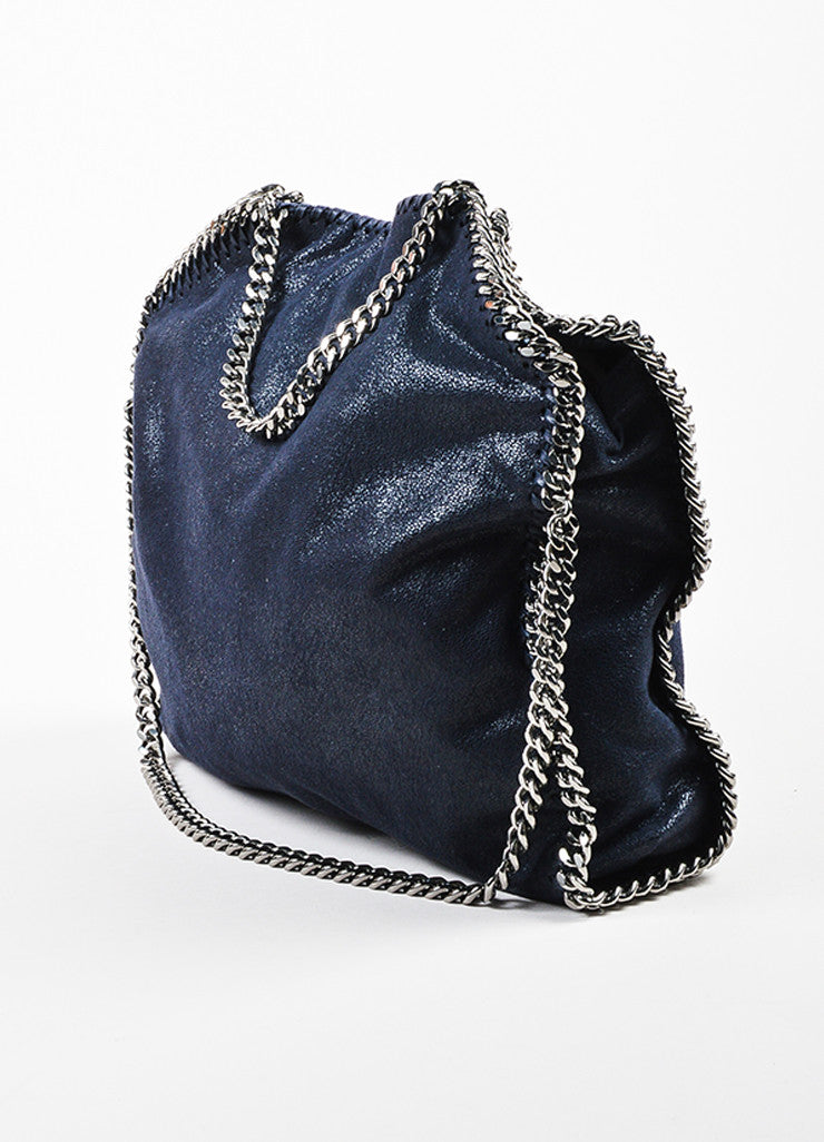"Navy Stella McCartney Faux Shaggy Deer Suede ""Falabella"" Tote Bag Back"