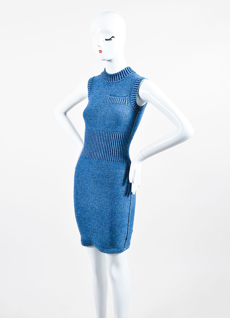 T by Alexander Wang Blue Cotton Blend Knit Faux Denim Sleeveless Bodycon Dress Sideview