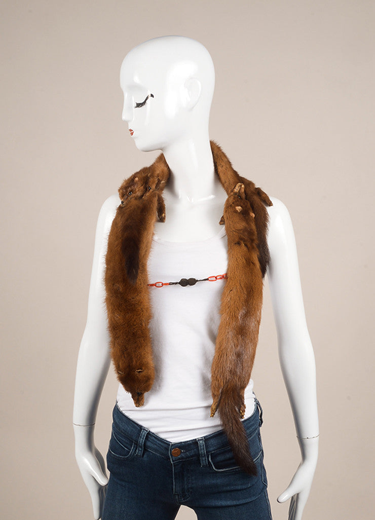 Vintage Brown Mink Stole Frontview