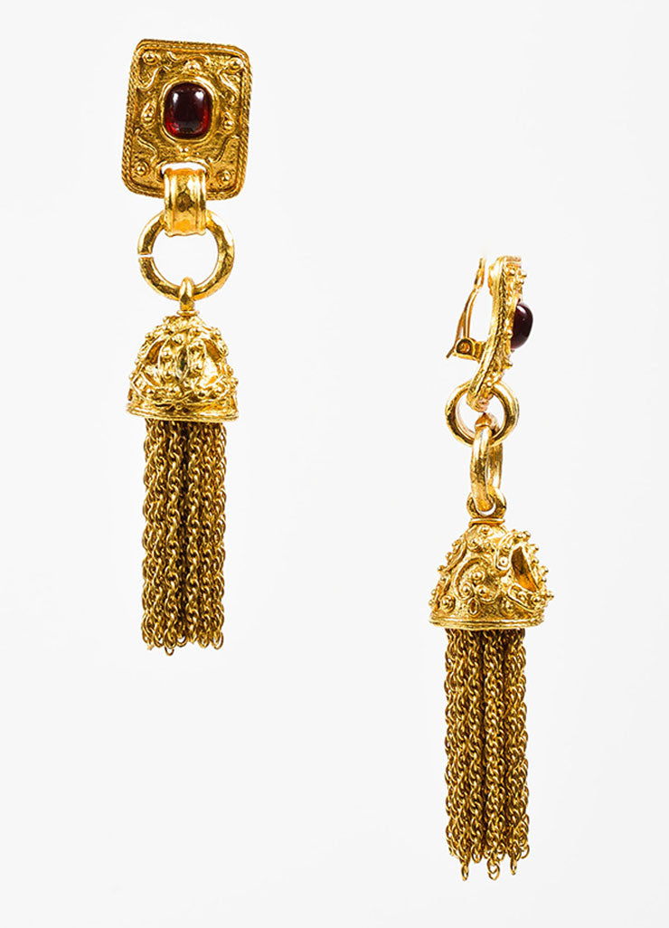 Gold Toned and Red Gripoix Stone Chanel 'CC' Tassel Clip On Earrings Sideview