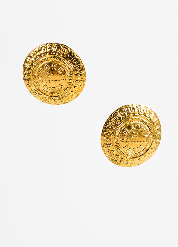 Chanel Gold Toned Logo Round Oversized Medallion Clip On Earrings Frontview