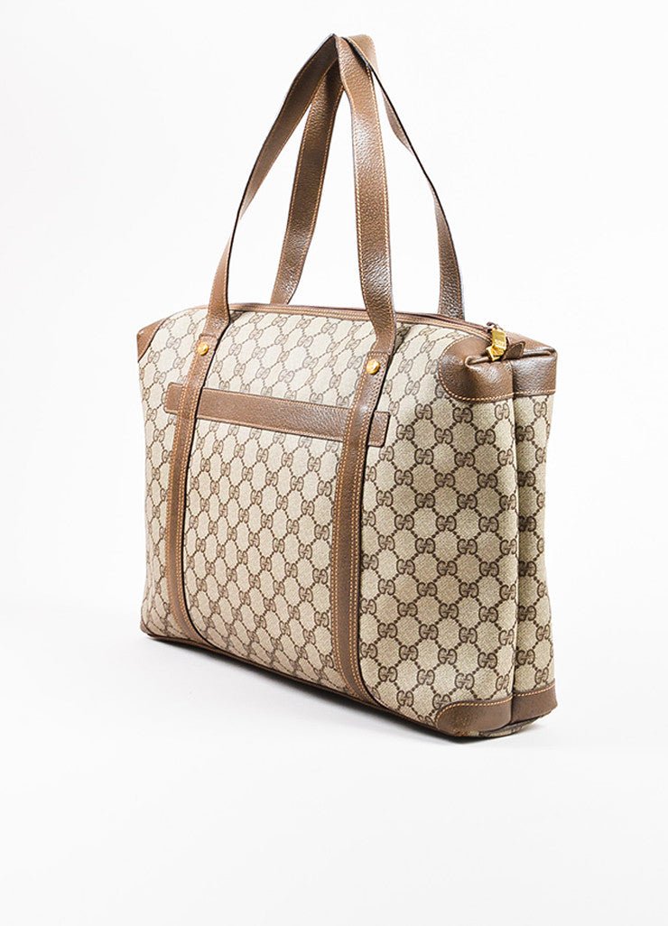Gucci Beige and Brown Coated Canvas Leather Monogram Travel Tote Bag Sideview