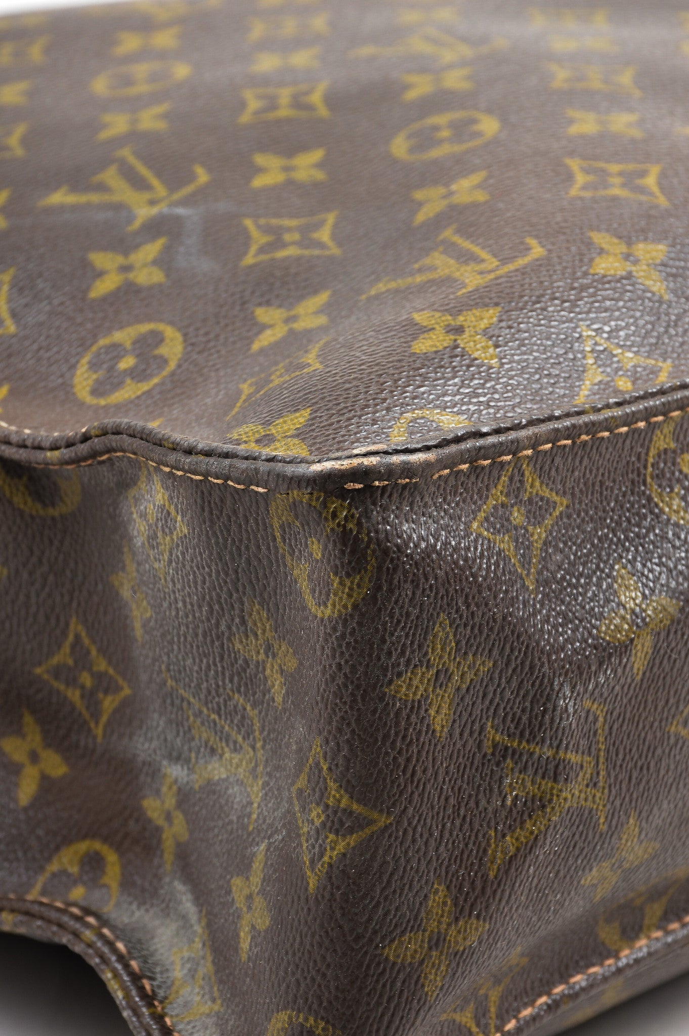 "Brown Louis Vuitton Canvas and Leather Monogram North South ""Sac Plat"" Tote Bag Detail"