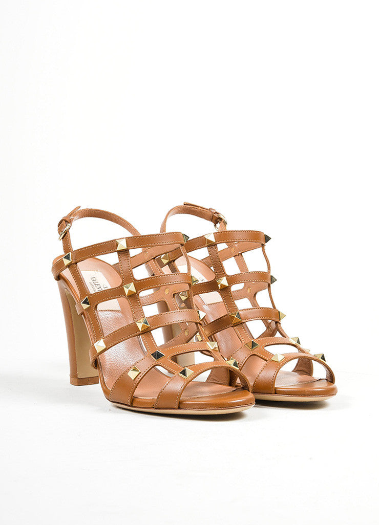 Brown Valentino Leather Rockstud Cage Slingback Sandals Frontview
