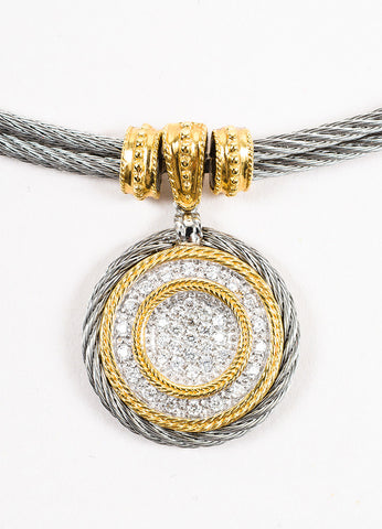Alor Stainless Steel, 18K Yellow Gold, and Diamond Disc Pendant Necklace Detail