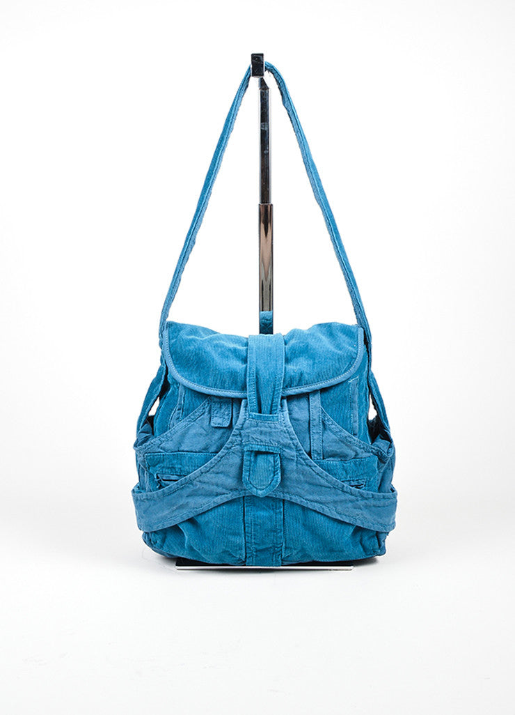 "Teal Blue Balenciaga Corduroy Knit Contrast ""Matrix"" Shoulder Hobo Bag Frontview"