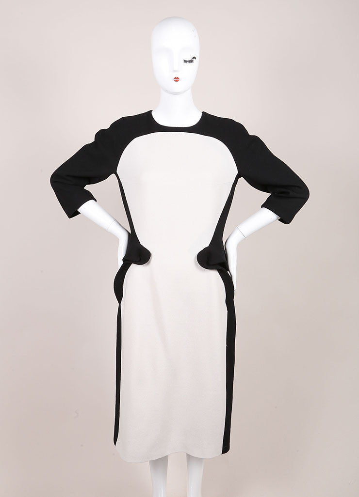 Bottega Veneta New With Tags Black and White Wool Peplum Dress Frontview