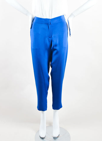 Cedric Charlier Royal Blue Silk Straight Leg Trouser Pants Frontview