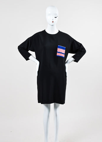 Black, Blue, and Red Celine Chest Pocket Three Quarter Sleeve Shift Dress Frontview