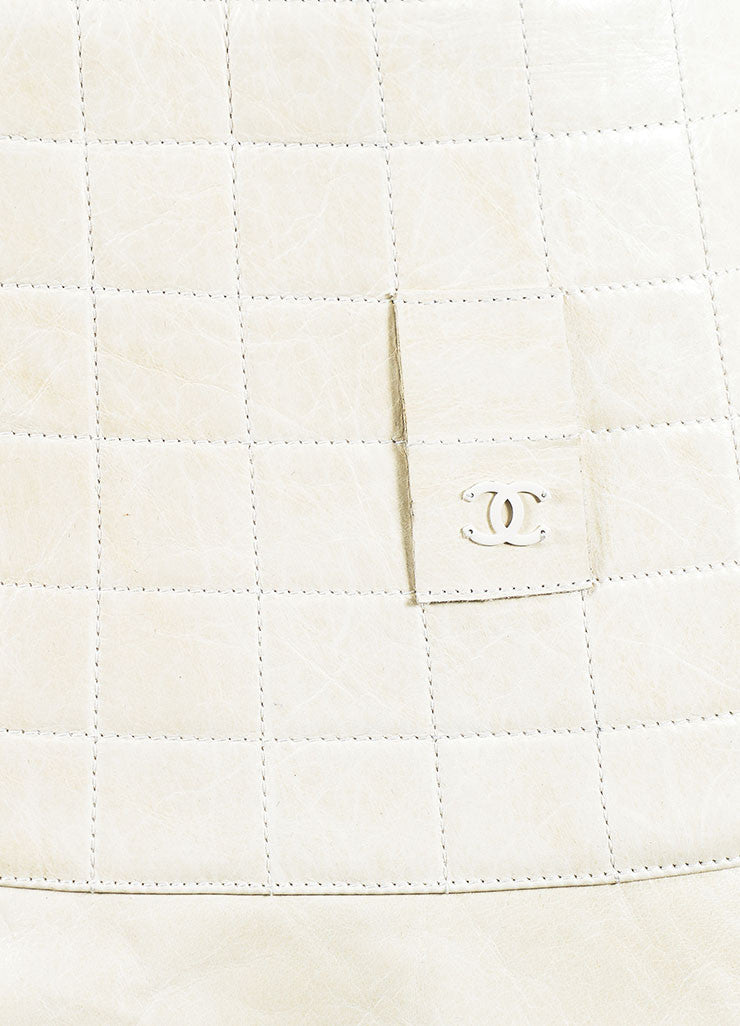 Cream Chanel Leather Quilted A Line Flounce Skirt Detail