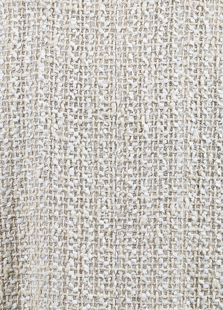Cream Chanel Woven Tweed Knee Length A-Line Skirt Detail