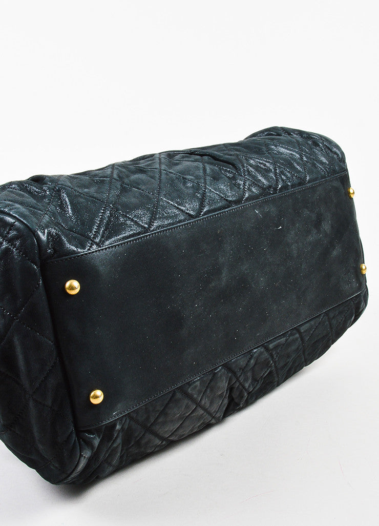 "Chanel Black and Gold Toned Iridescent Leather Chain ""Large Chic Quilt Bowling"" Bag Bottom View"