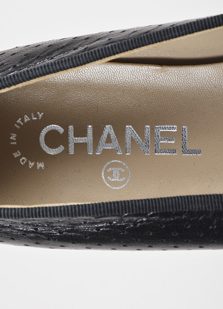Chanel Black Leather Perforated Bow Tie 'CC' Stitched Toe Ballerina Flats Brand