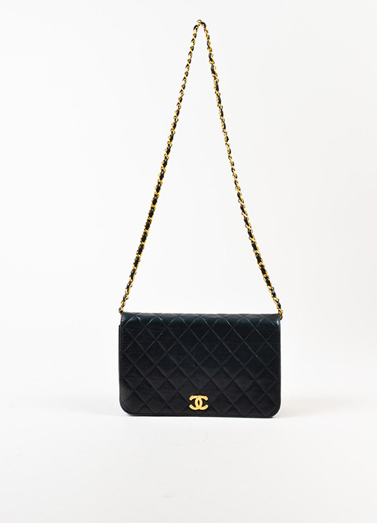 "äó¢íšíóChanel Black Leather Quilted Single Flap Chain Strap ""CC"" Shoulder Bag Frontview"