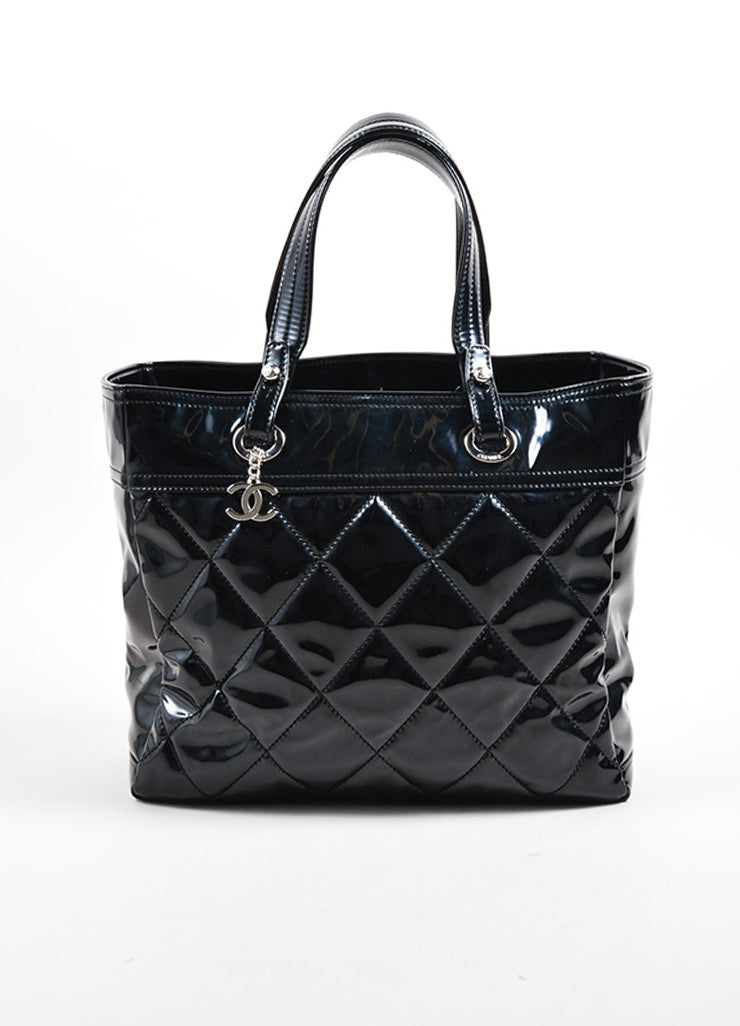 "Chanel Black Patent Diamond Quilted ""Paris Biarritz"" Travel Tote Bag Frontview"