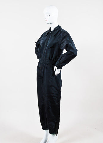 Black Chanel Silk Coverall Long Sleeve Jumpsuit Sideview