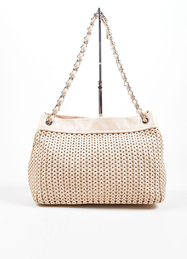 Chanel Blush Beige Braided Leather Chain Strap Slouchy Bag Frontview