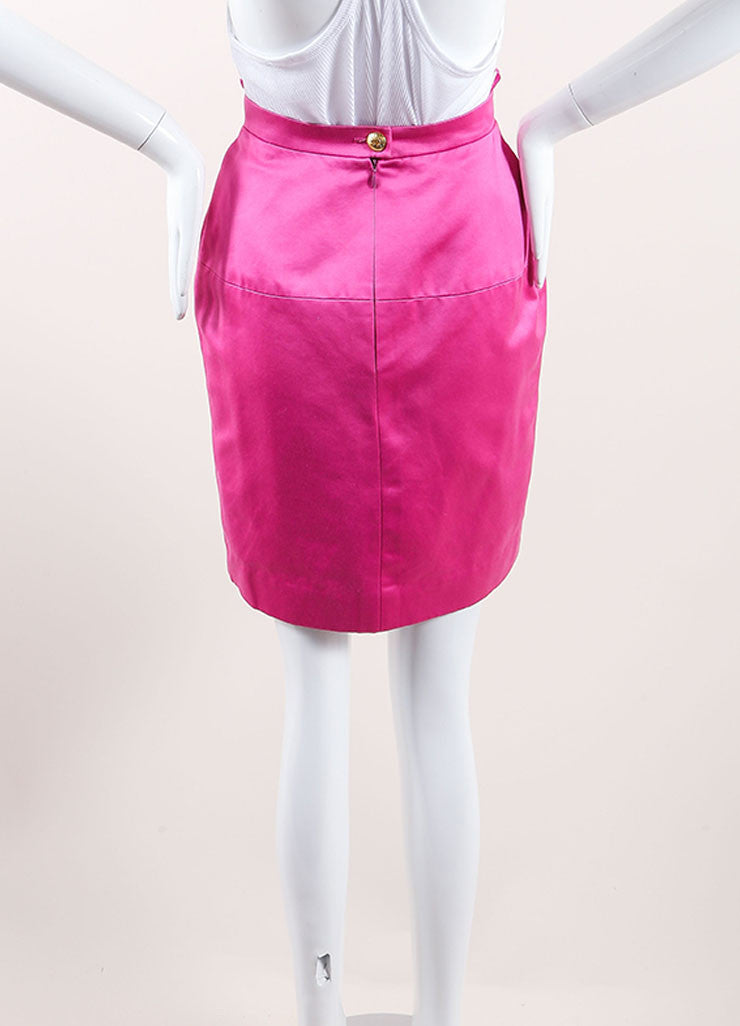 Chanel Pink Poplin Button Pencil Skirt Backview