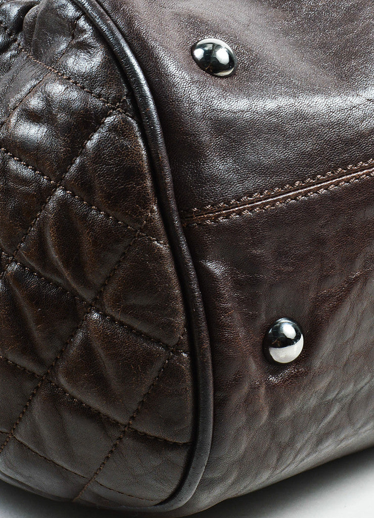 Chanel Brown Leather 'CC' Quilted Sides Large Tote Bag Detail