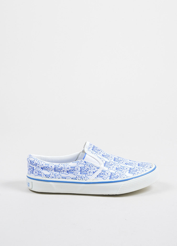 White and Blue Chanel 'CC' Logo Camellia Flower Print Round Slip On Sneakers Sideview