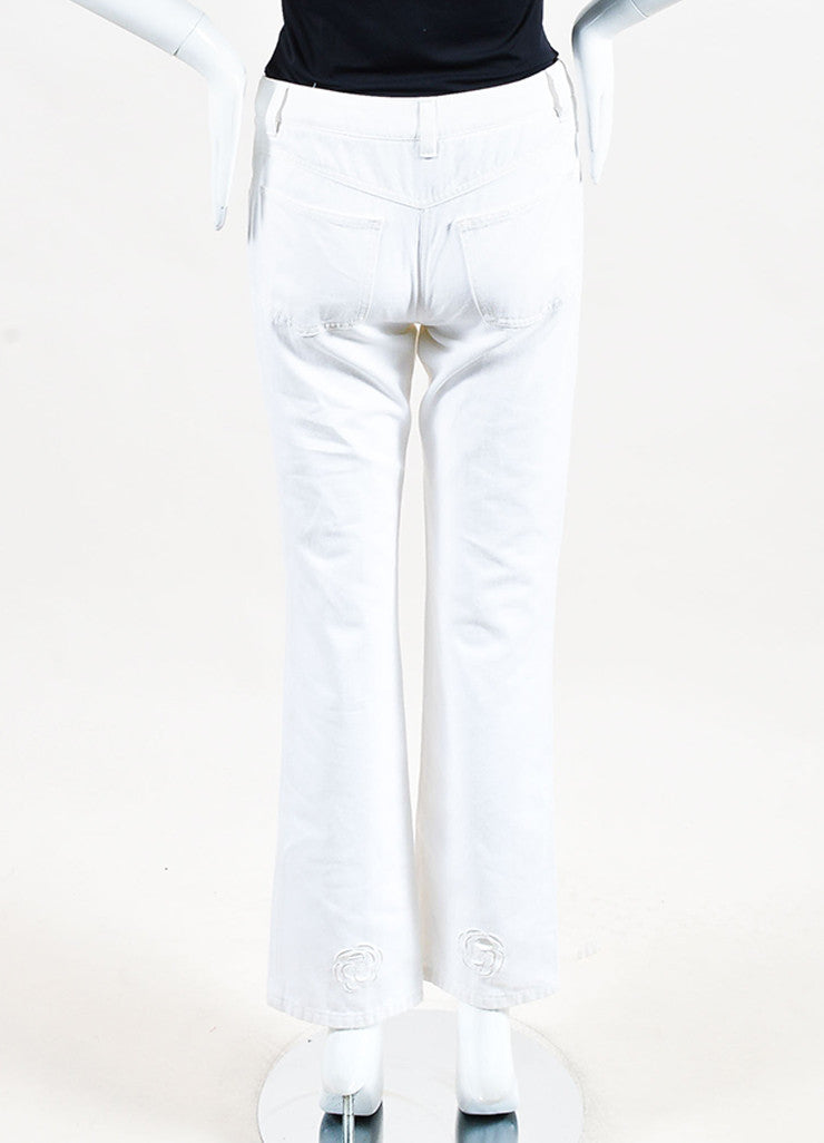 Chanel White Cotton Denim Flower Cut Out Wide Straight Leg Jeans Backview