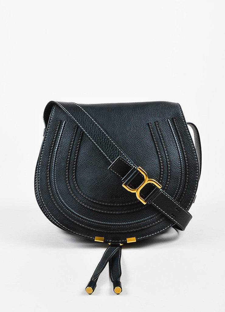 "Chloe Black Grained Leather Saddle Crossbody ""Marcie"" Bag Frontview"