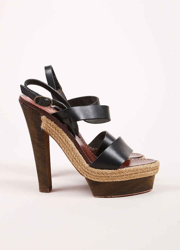 Christian Louboutin Black and Brown Leather Espadrille Wood Platform Sandals Sideview