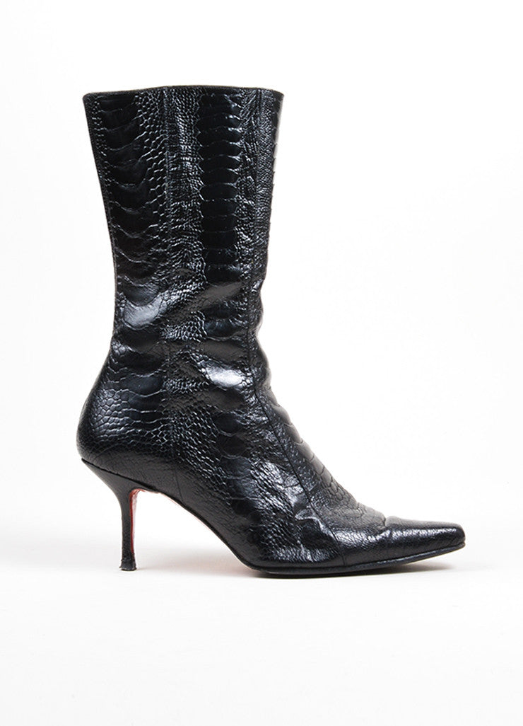 Black Christian Louboutin Crocodile Leather Heeled Calf High Boots Sideview