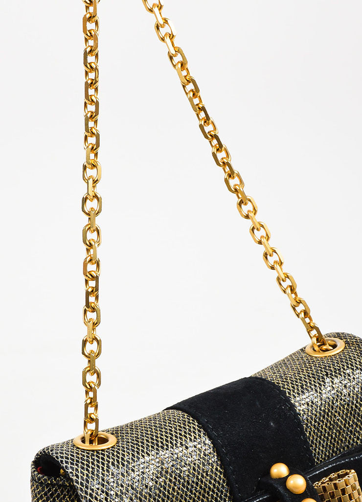 "Christian Louboutin Grey Gold Metallic Chain ""Mini Sweet Charity"" Bag Detail 3"