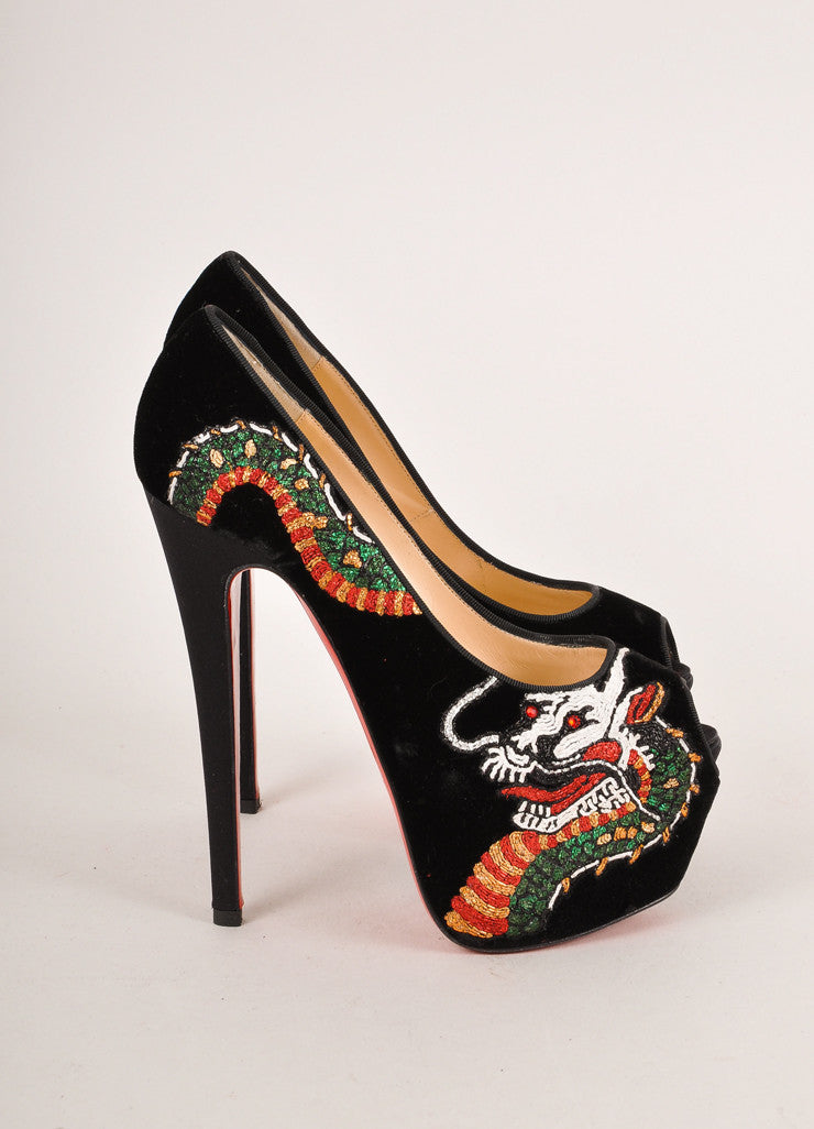 "Christian Louboutin Black ""Highness Dragon Tattoo"" Velvet Peep Toe Pumps Sideview"