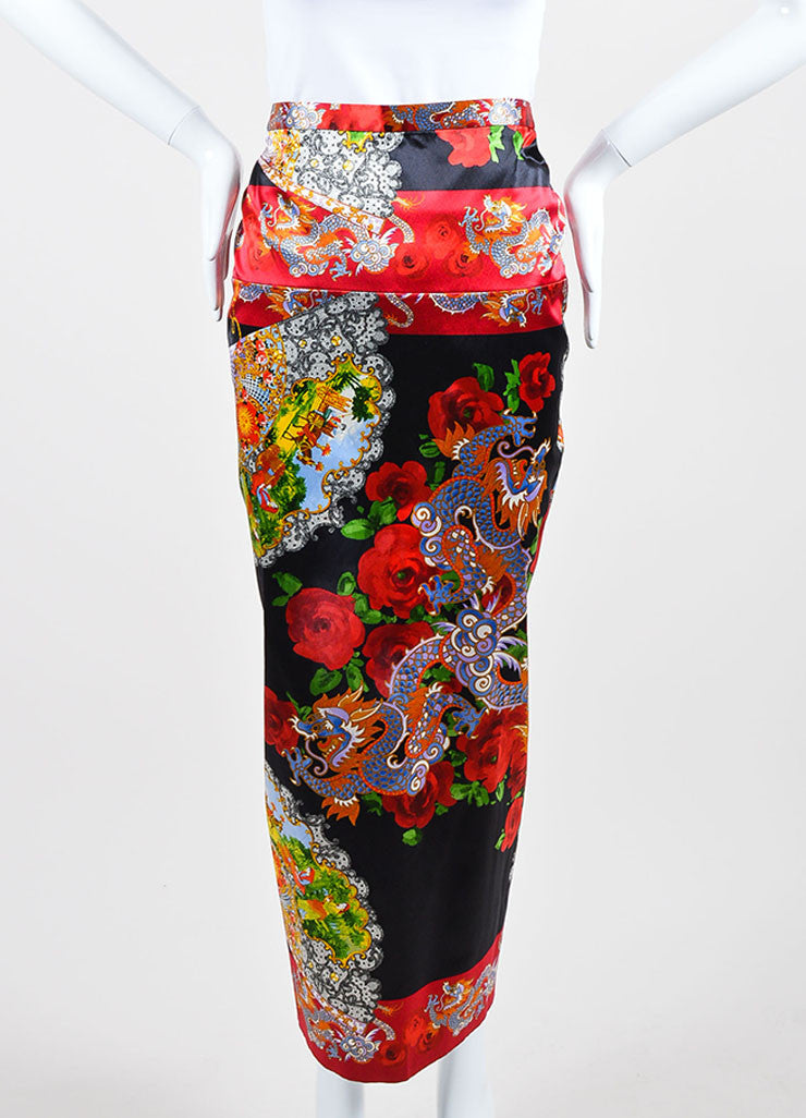 Multicolor Dolce & Gabbana Oriental Print Satin Ruched Midi Skirt Frontview