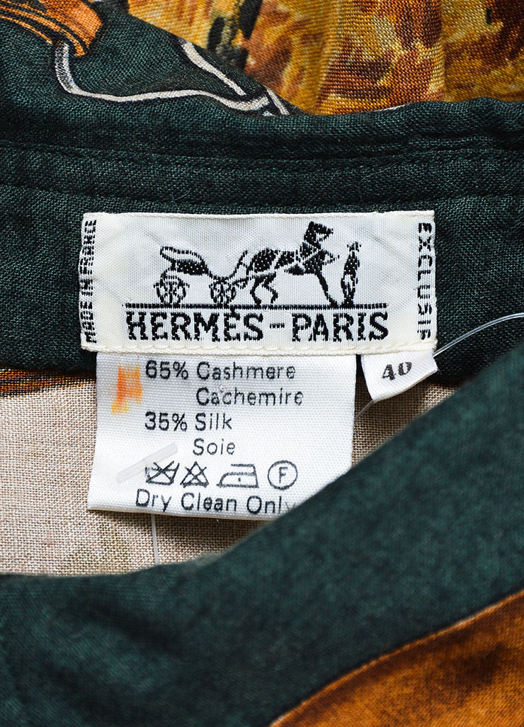 Green and Brown Hermes Cashmere Horse and Hound Printed Button Down Blouse Brand