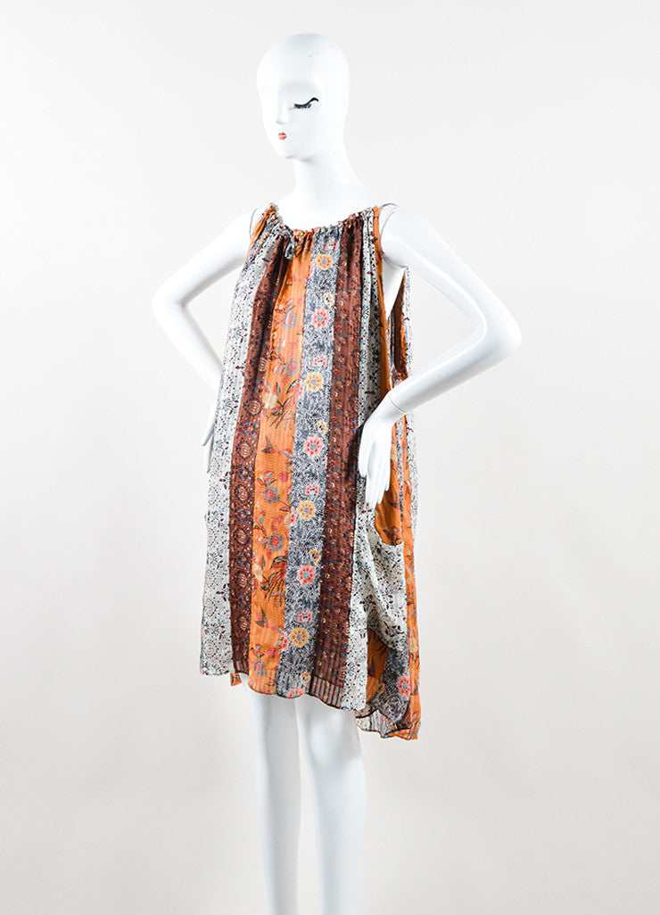 "Isabel Marant Brown Silk Mixed Print Sleeveless ""Alibay"" Dress Sideview"