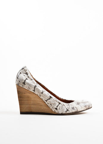 Cream and Black Snakeskin Wooden Wedge Heel Ballerina Pumps Sideview