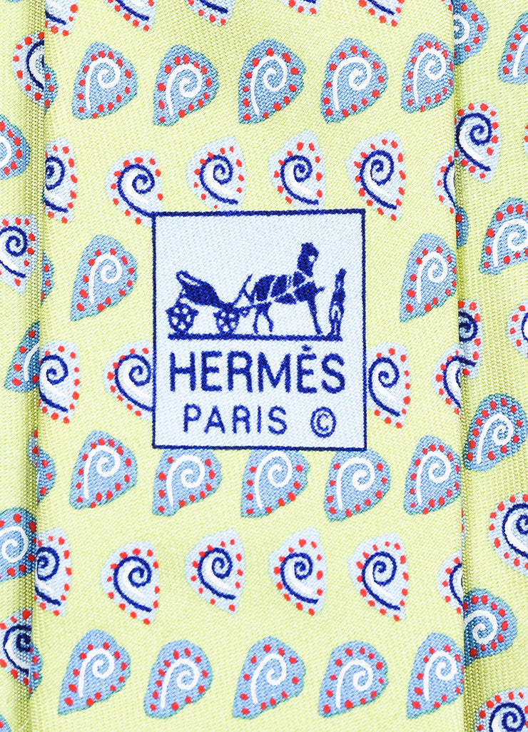 Men's Hermes Green Blue Red Silk Seashell Print Necktie Brand