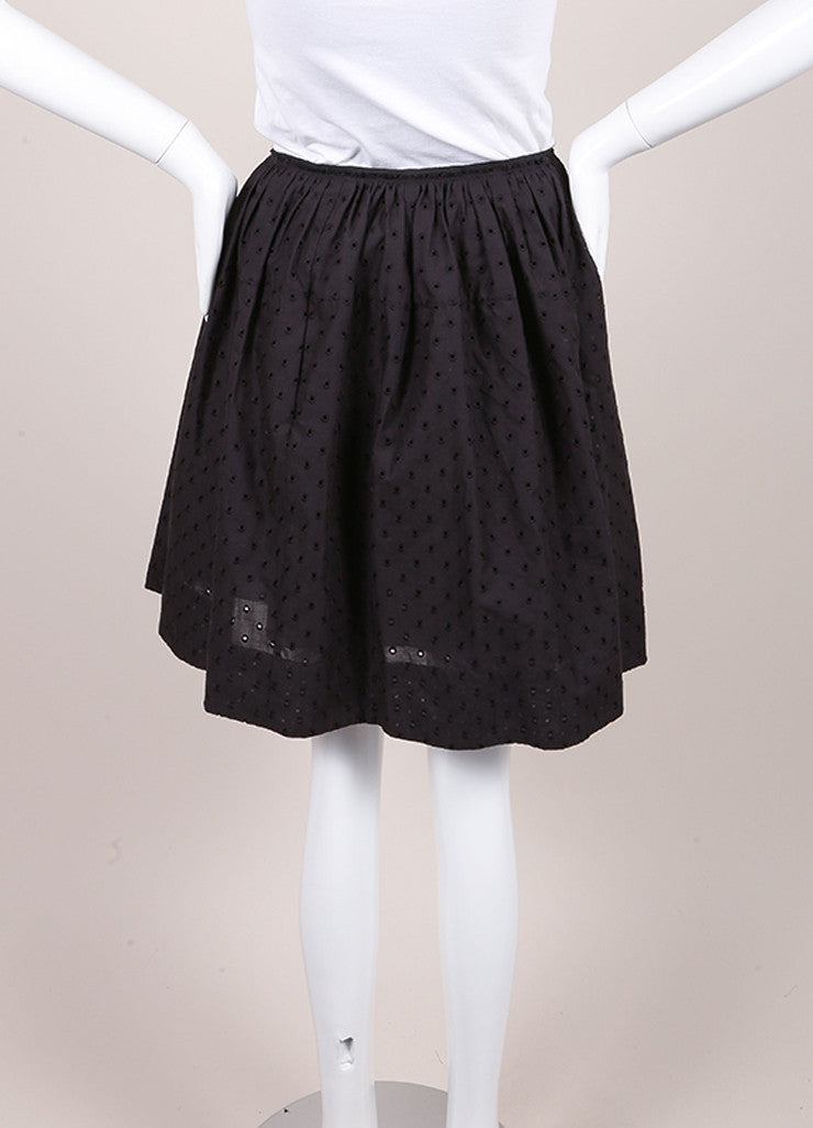 Marc Jacobs New With Tags Black Cotton Eyelet Knee Length Yoked Skirt Backview