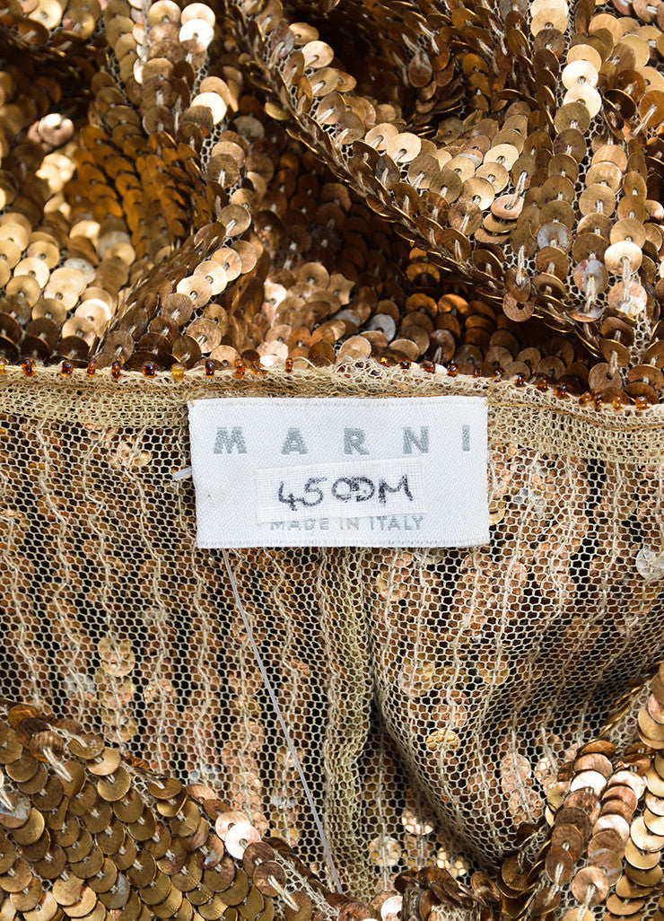 Marni Gold Sequin Semi Sheer Sleeveless Dress Brand