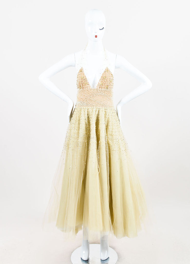 Pale Yellow Oscar de la Renta Tulle Pearl Beaded Halter Evening Gown Frontview
