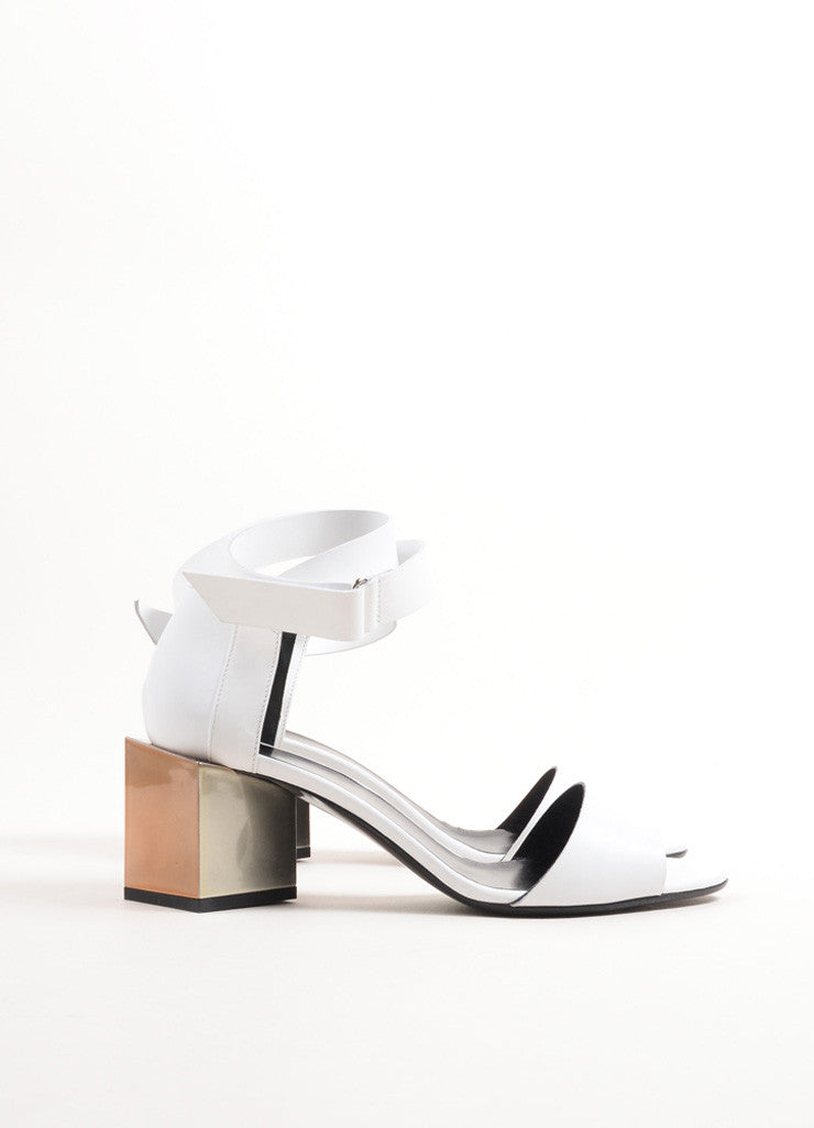 "Pierre Hardy White Leather Metallic Block Heel ""Monolite"" Sandals Sideview"