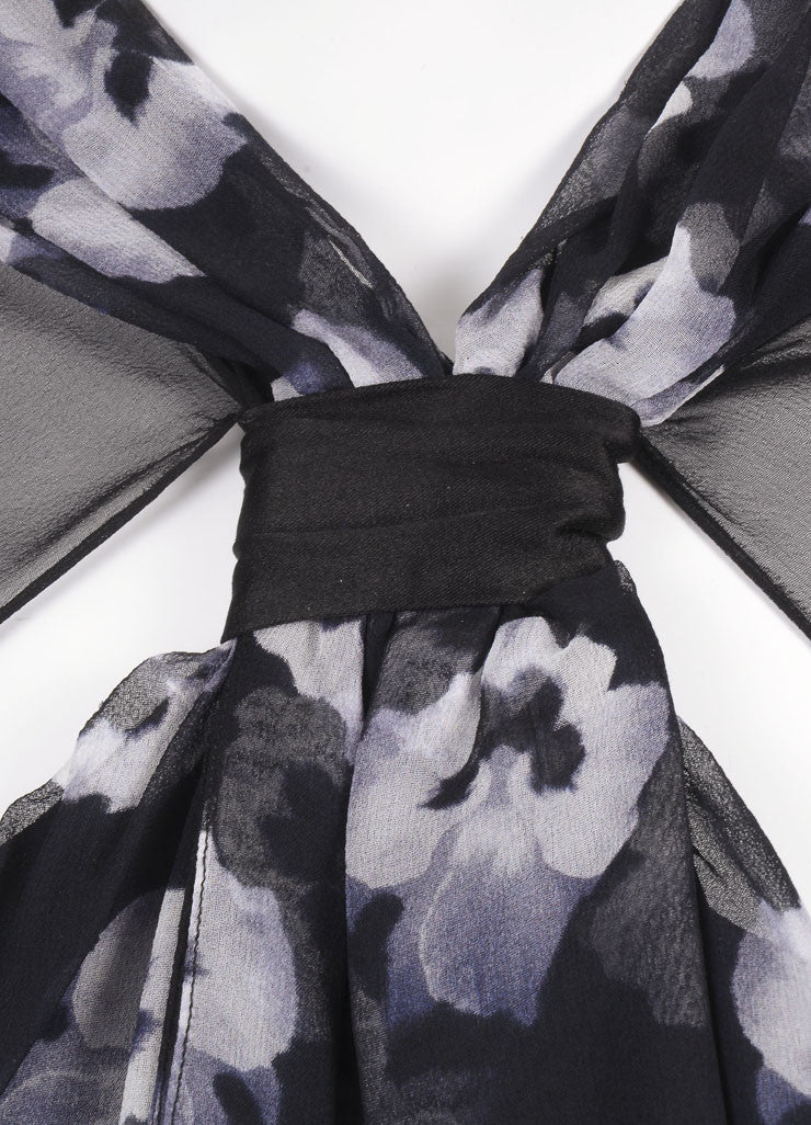 Prabal Gurung New With Tags Black and White Silk Floral Print Sheer Sleeve Dress Detail
