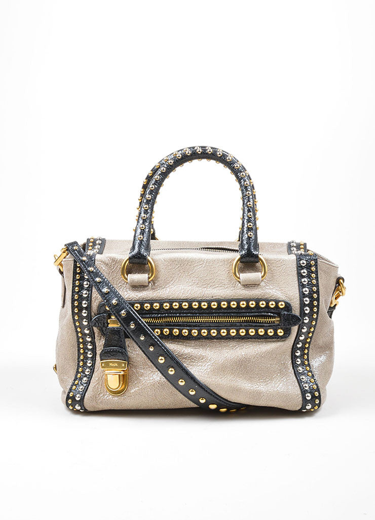 Grey and Black Gold and Silver Toned Prada Cracked Leather Craquele Studded Tote Bag Frontview