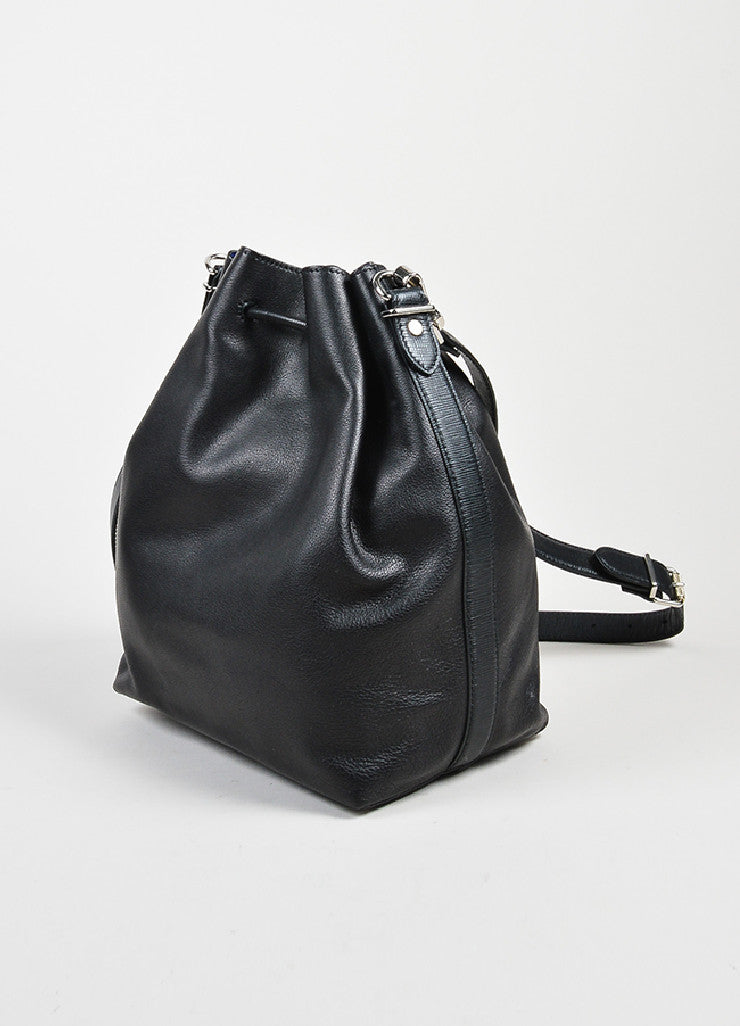 Proenza Schouler Black and Cobalt Leather Crossbody Bucket Bag with Pouch Sideview