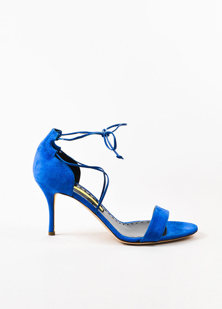 "Blue Rupert Sanderson Suede ""Ravel"" Tie Ankle Heel Sandals Side"