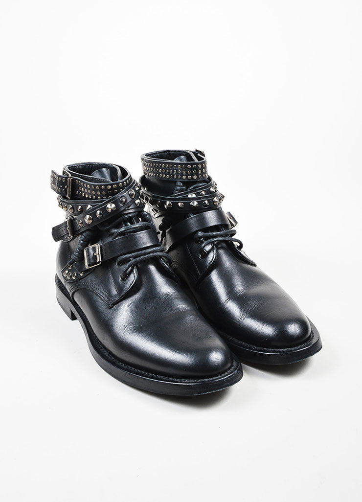 "Black Saint Laurent Leather Studded Strappy ""Rangers"" Ankle Boots Frontview"