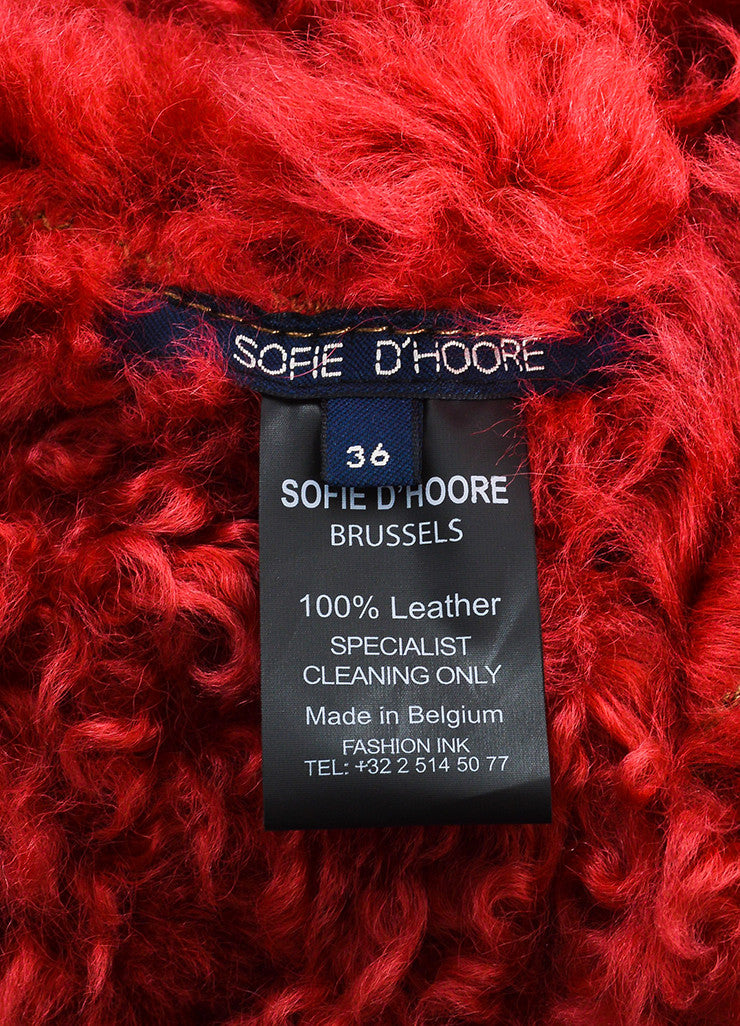 Red and Brown¥éË Sofie D'Hoore Fur Leather Reversible Patched Coat Brand