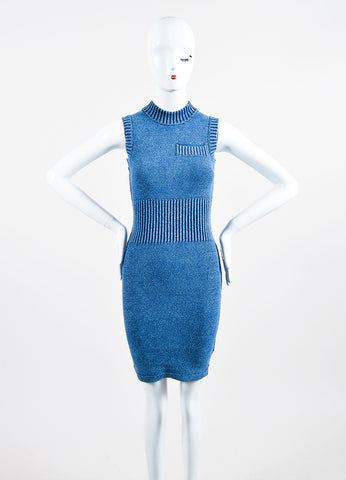 T by Alexander Wang Blue Cotton Blend Knit Faux Denim Sleeveless Bodycon Dress Frontview