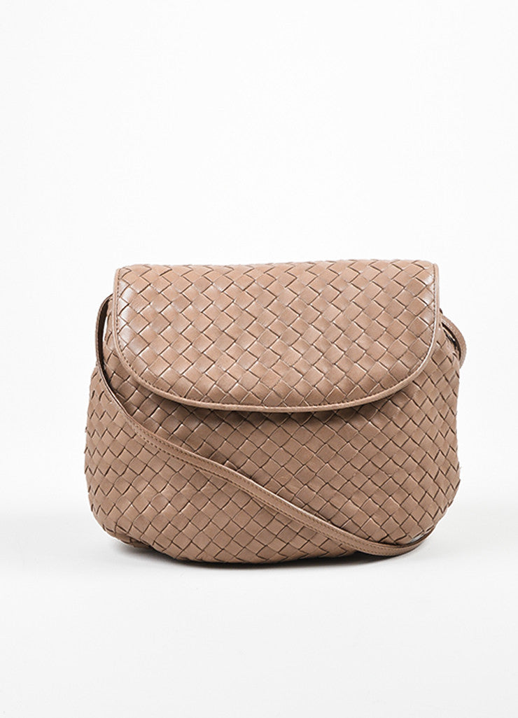 Taupe Bottega Veneta Intrecciato Woven Crossbody Bag Frontview