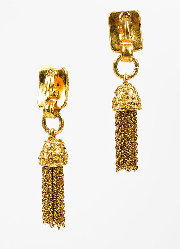 Gold Toned and Red Gripoix Stone Chanel 'CC' Tassel Clip On Earrings Backview